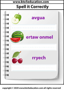 Spell it Correctly Fruit Worksheet Template