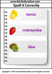 Spell it Correctly Fruit Worksheet Template 3