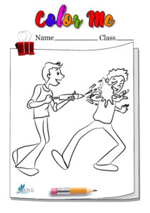 Two Kids Playing Holi Coloring Page
