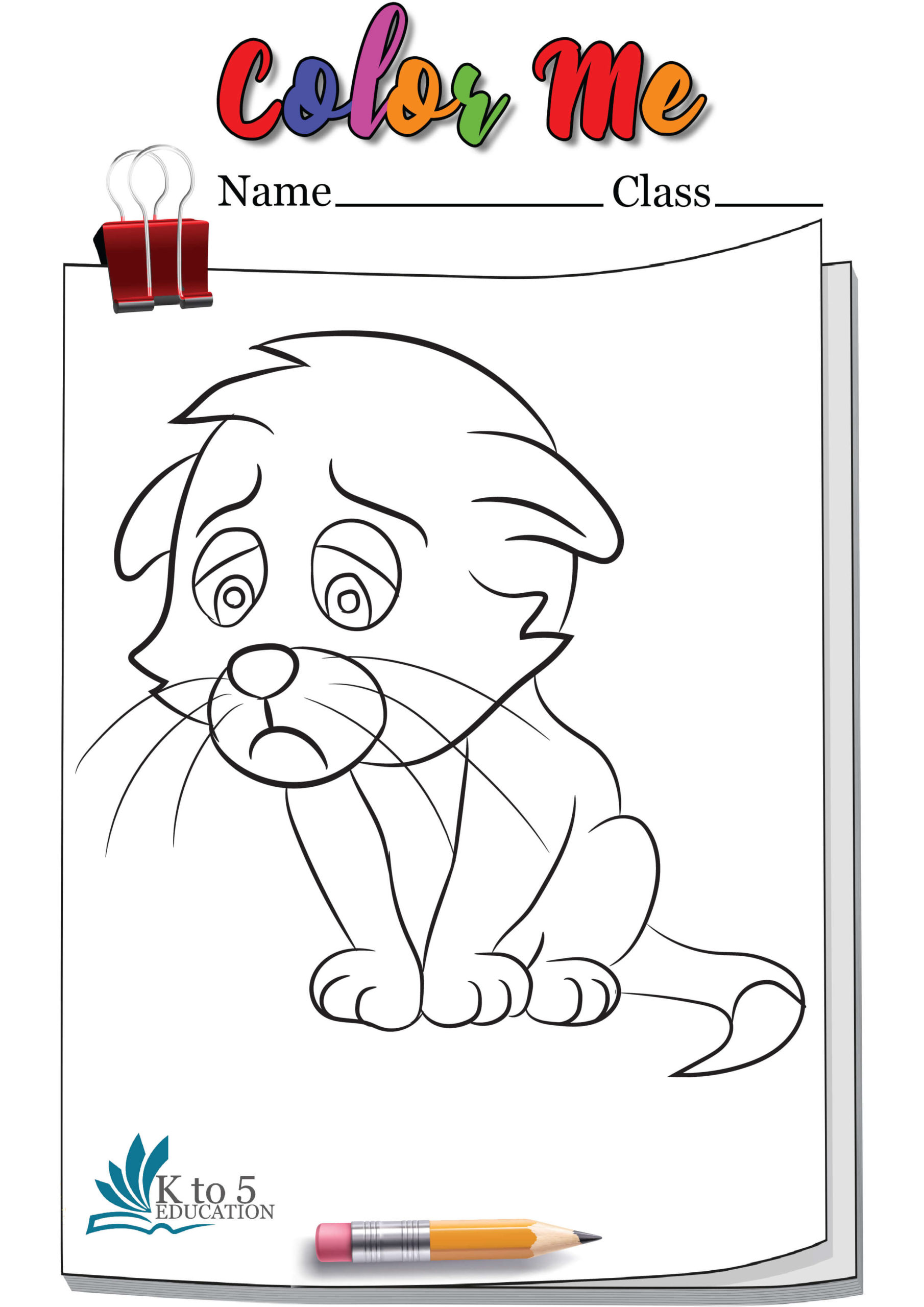 Sad kitty Cat coloring page worksheet