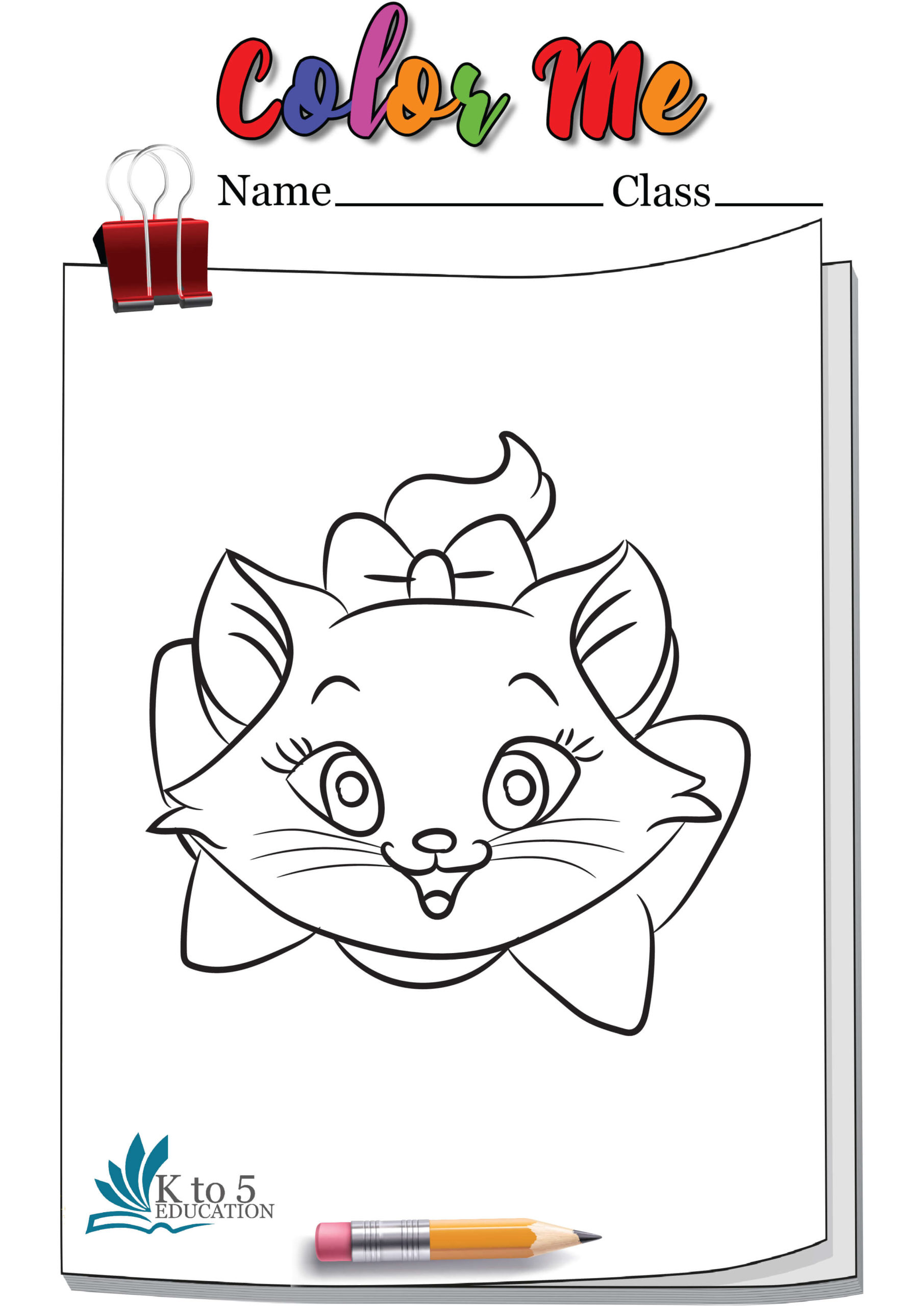 Cat smiling head coloring page worksheet