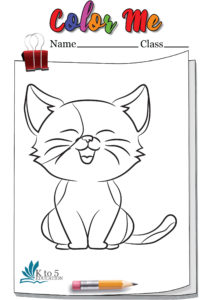 Cat Happy and Smiling coloring page worksheet 1
