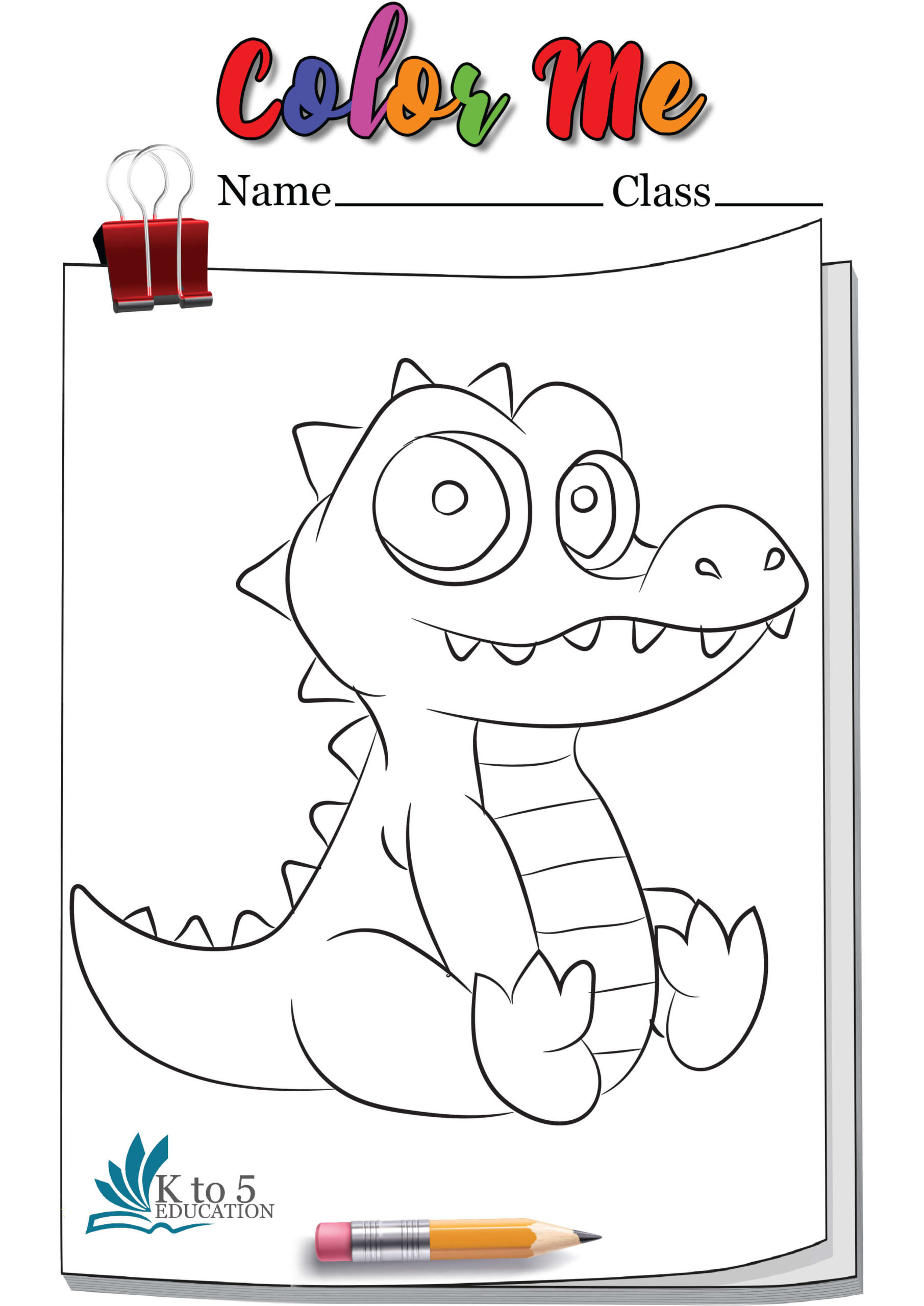 Baby Crocodile coloring page worksheet