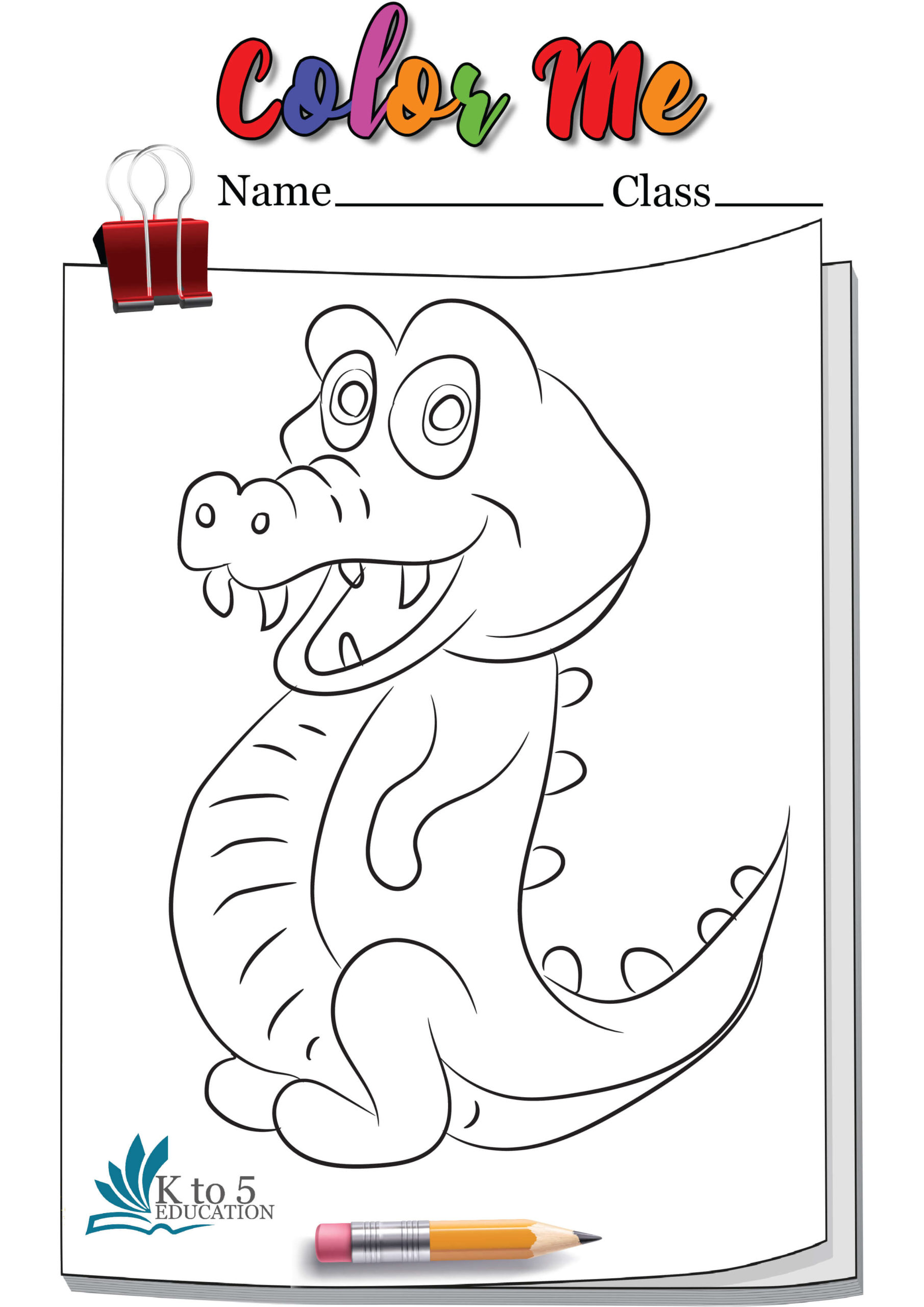 Smiling Crocodile coloring page worksheet