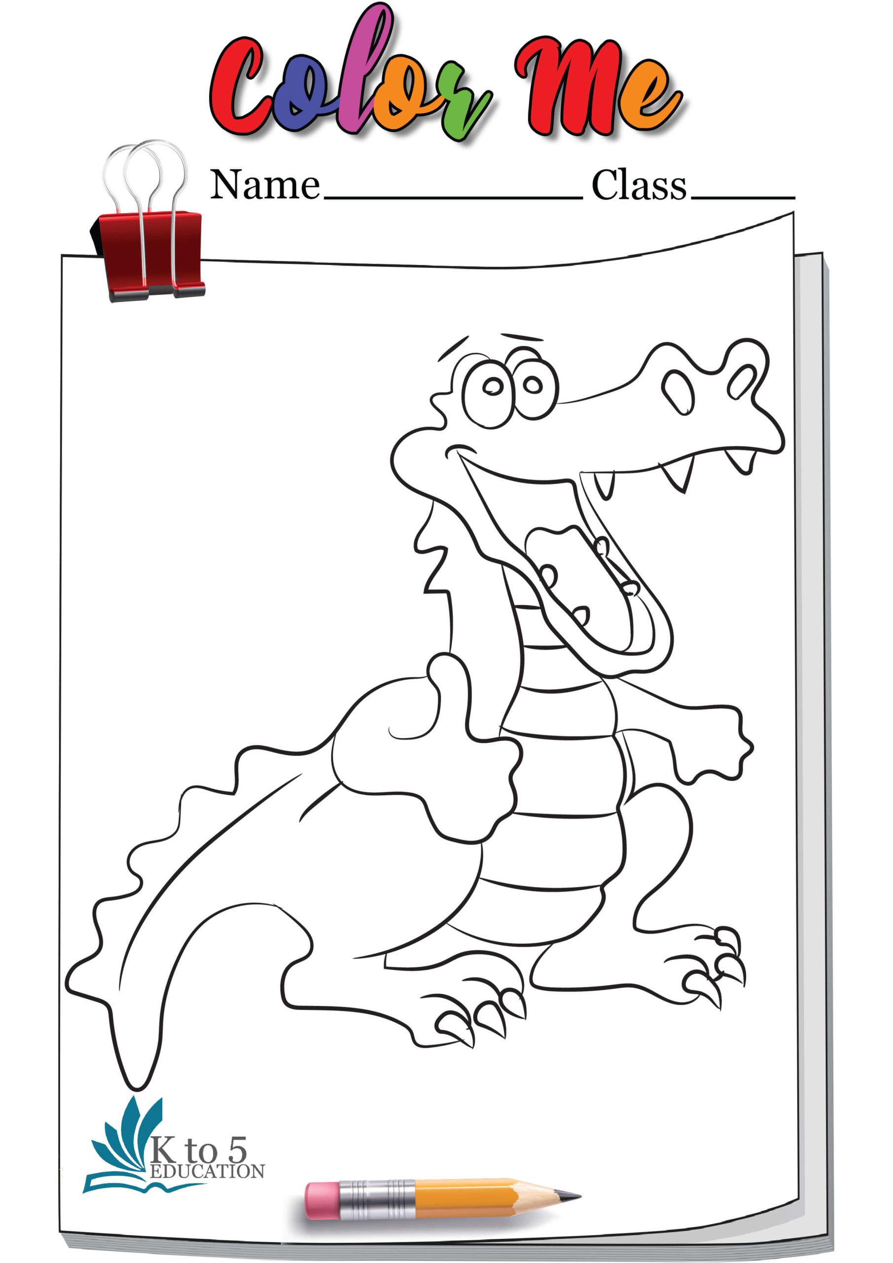 Crocodile Weaving Thumbsup Coloring page worksheet