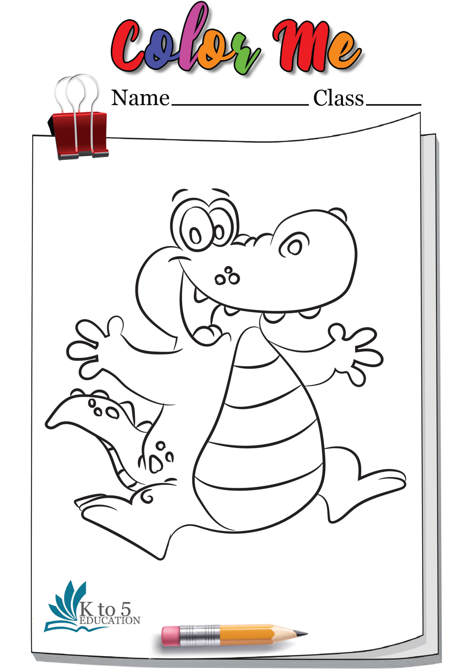 Cheerful crocodile coloring worksheet