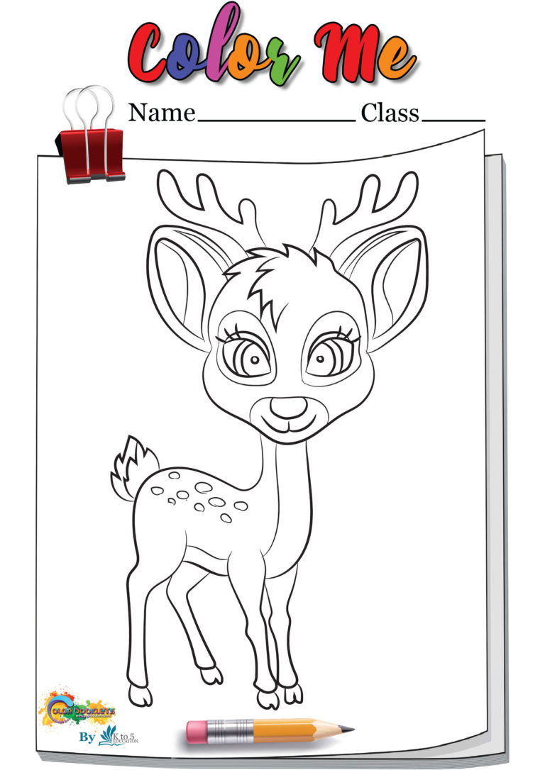 Simple Deer coloring page Worksheet Template