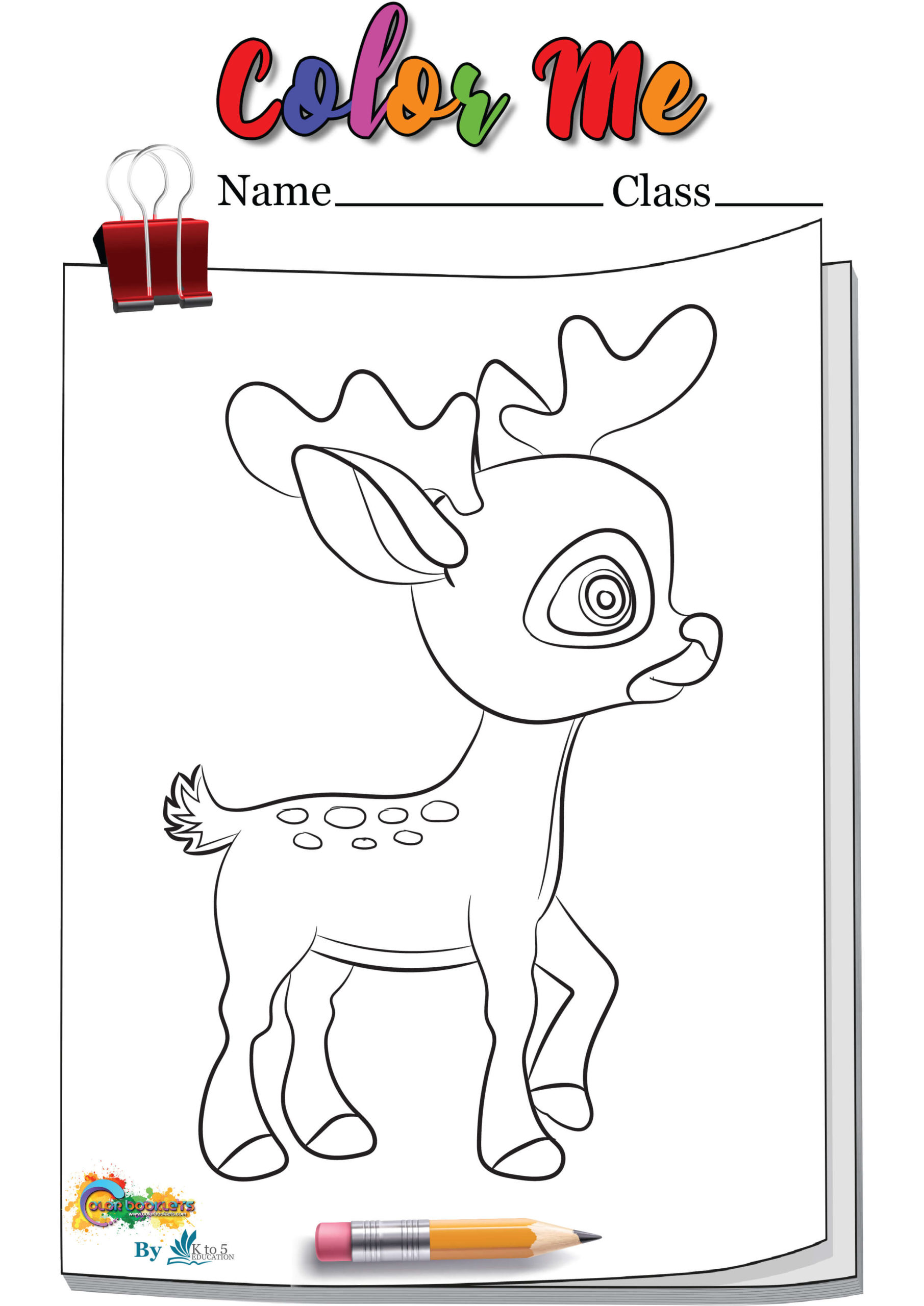 Dear Standing Coloring page Worksheet