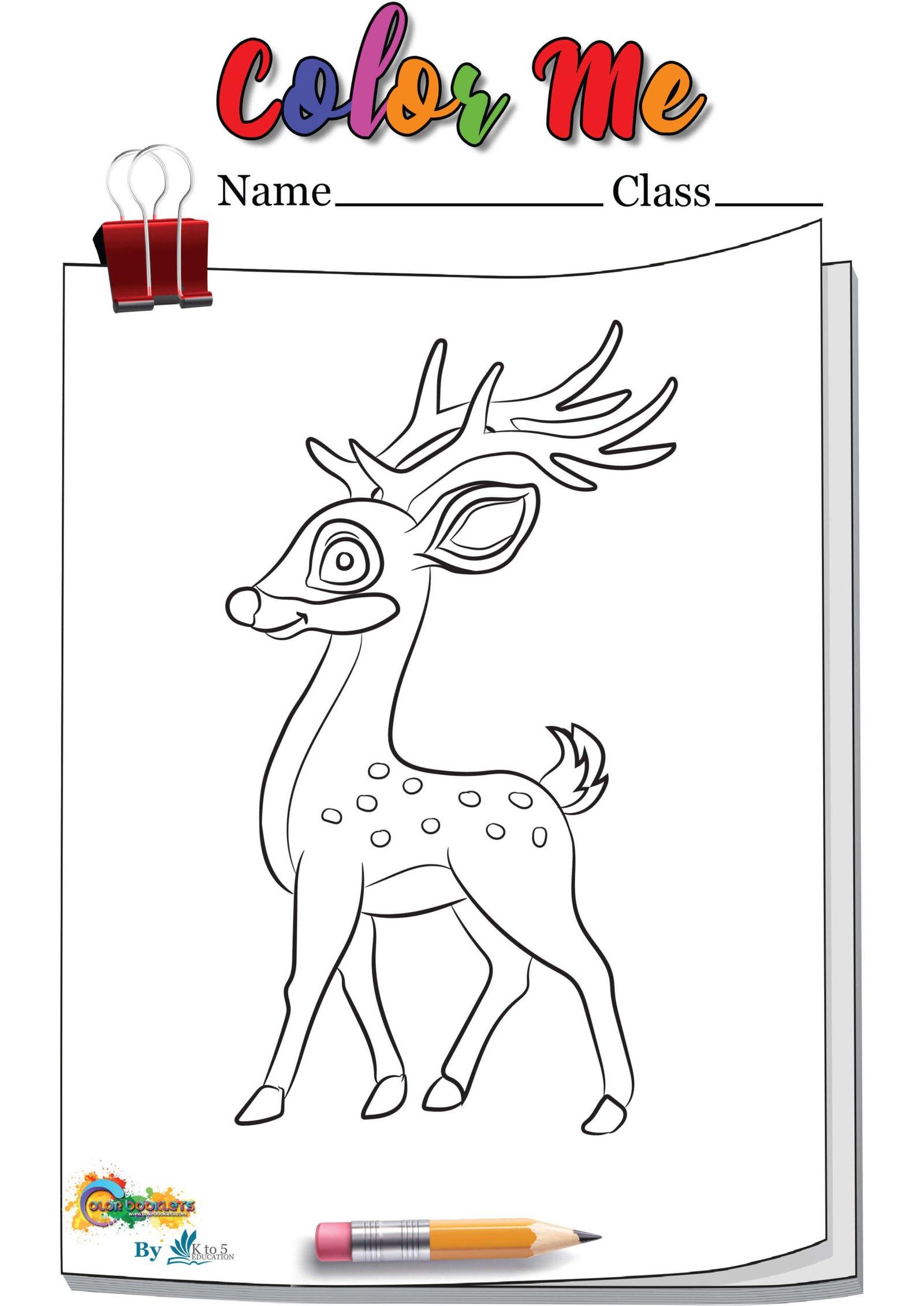 Scouting Deer coloring page worksheet