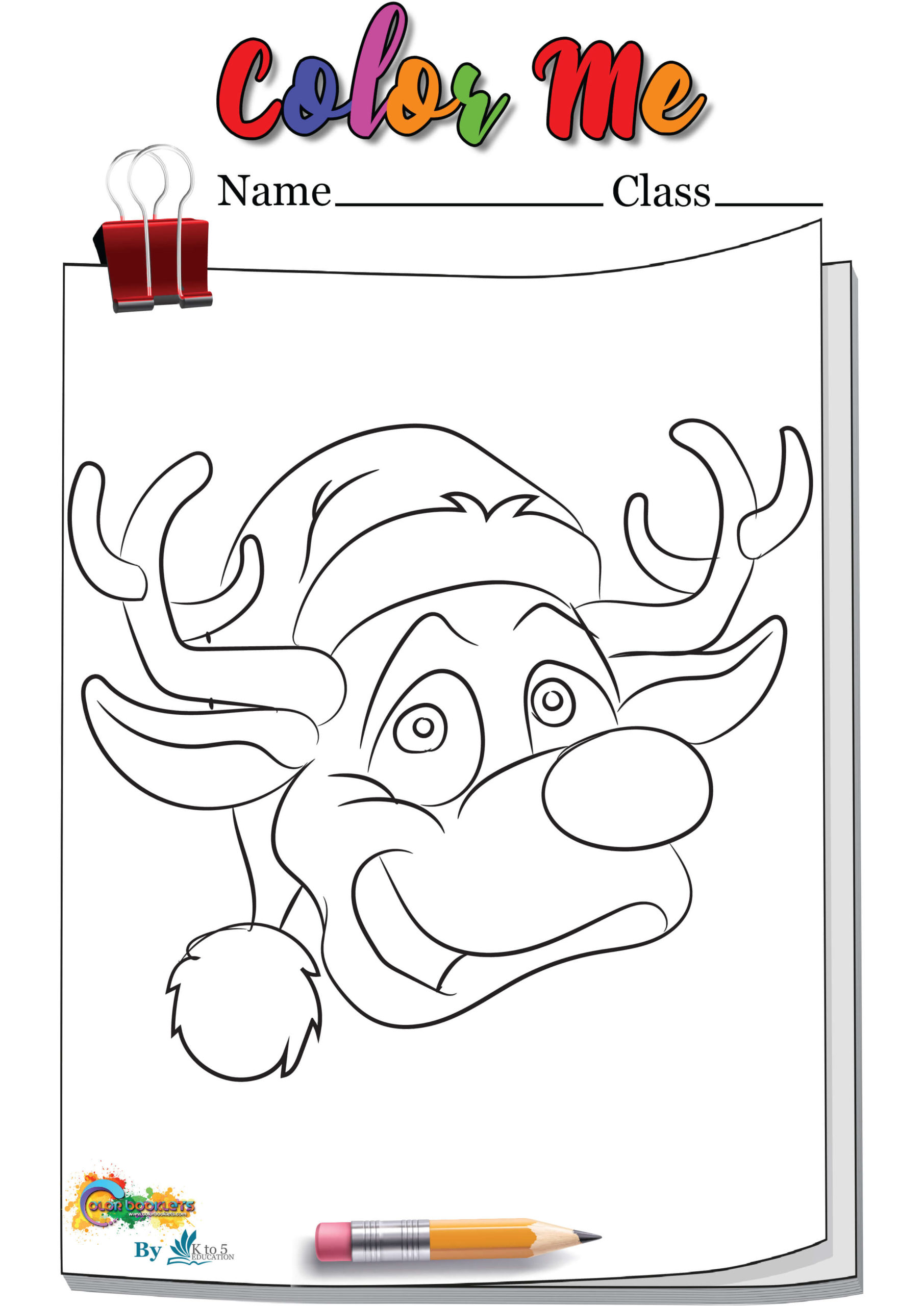 Deer cartoon wearing hat coloring page