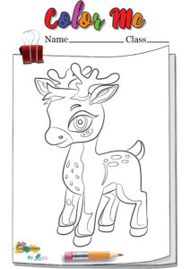 Deer standing coloring page worksheet