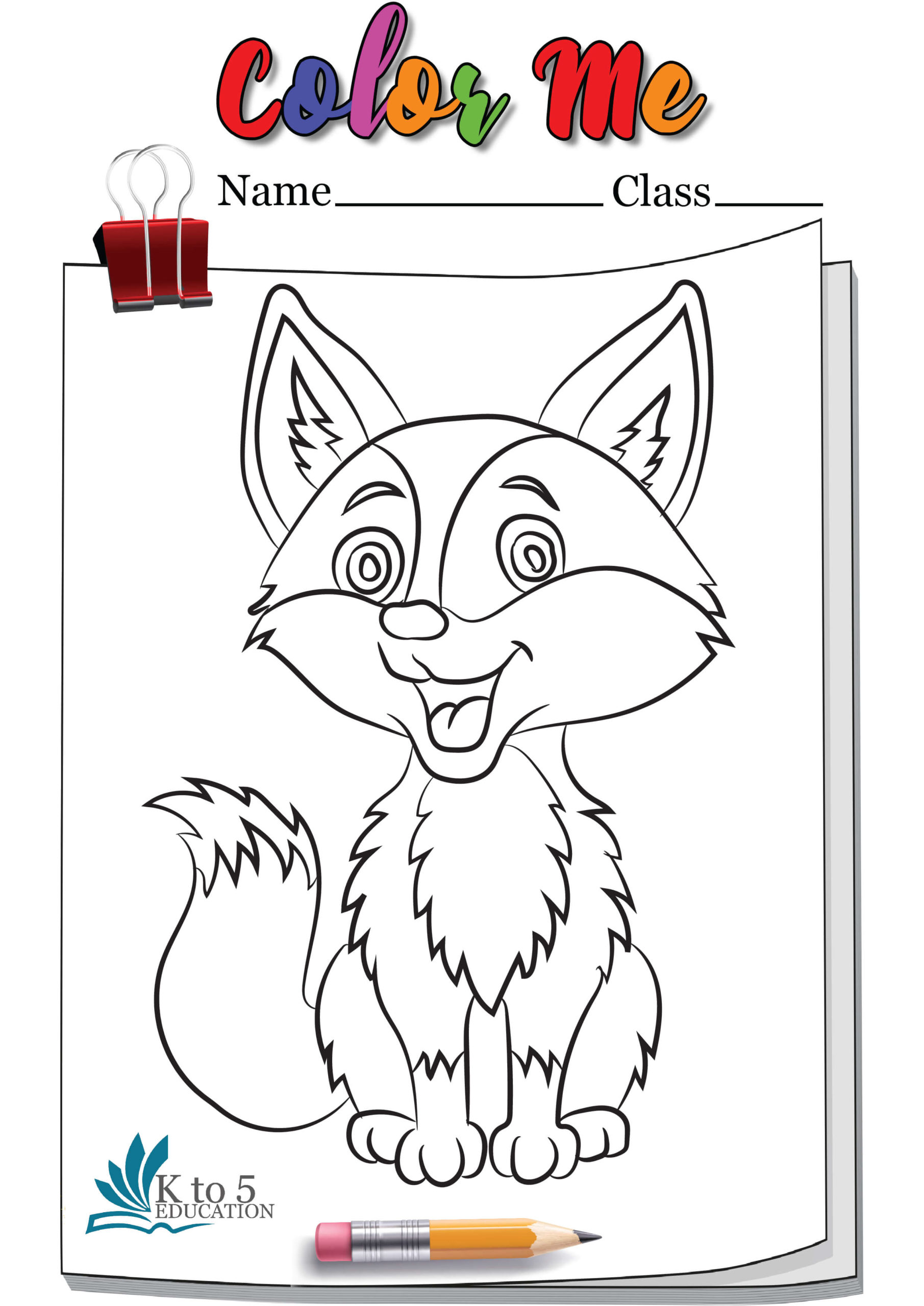Smiling Fox coloring page worksheet