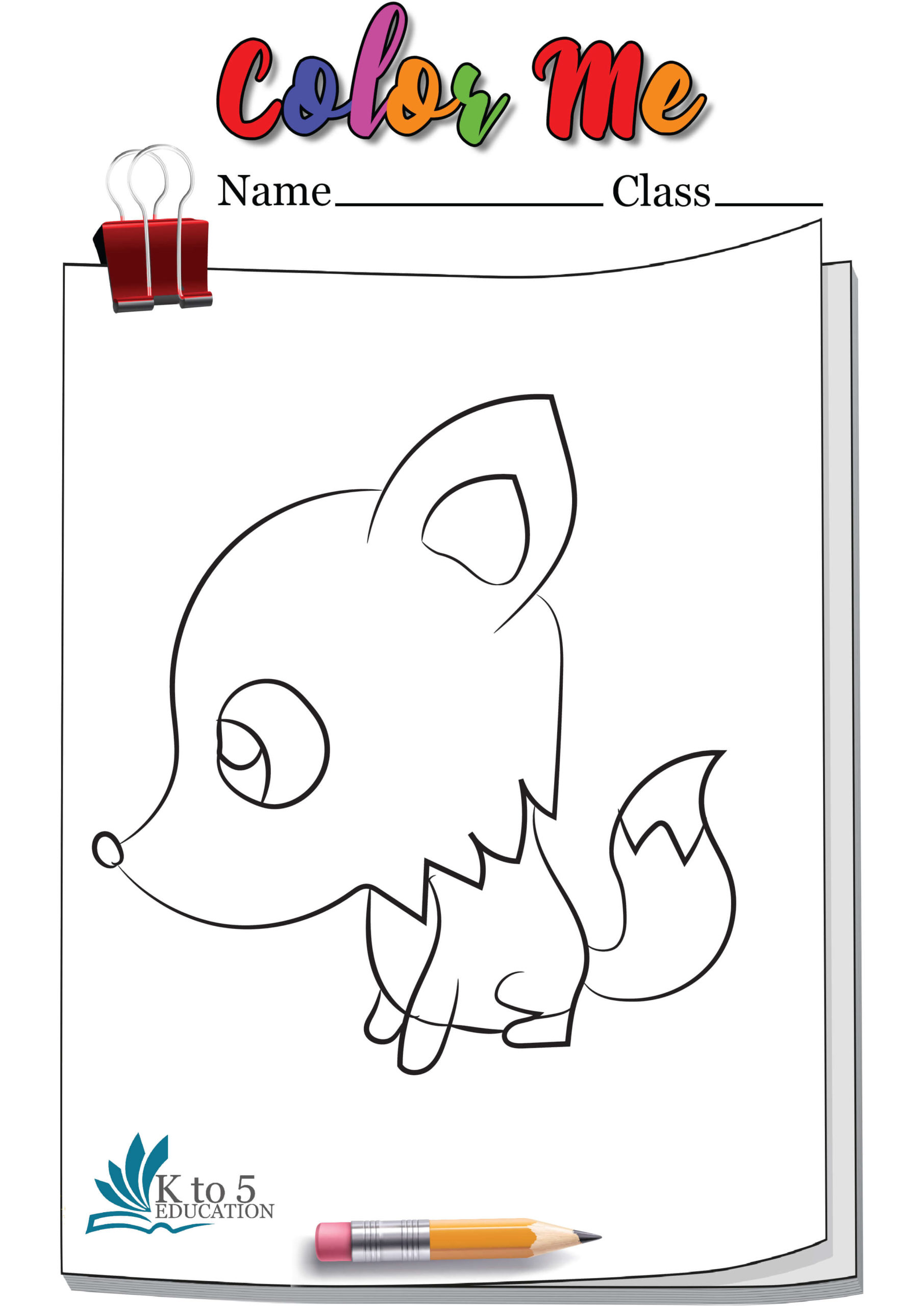 Sad Fox coloring page worksheet