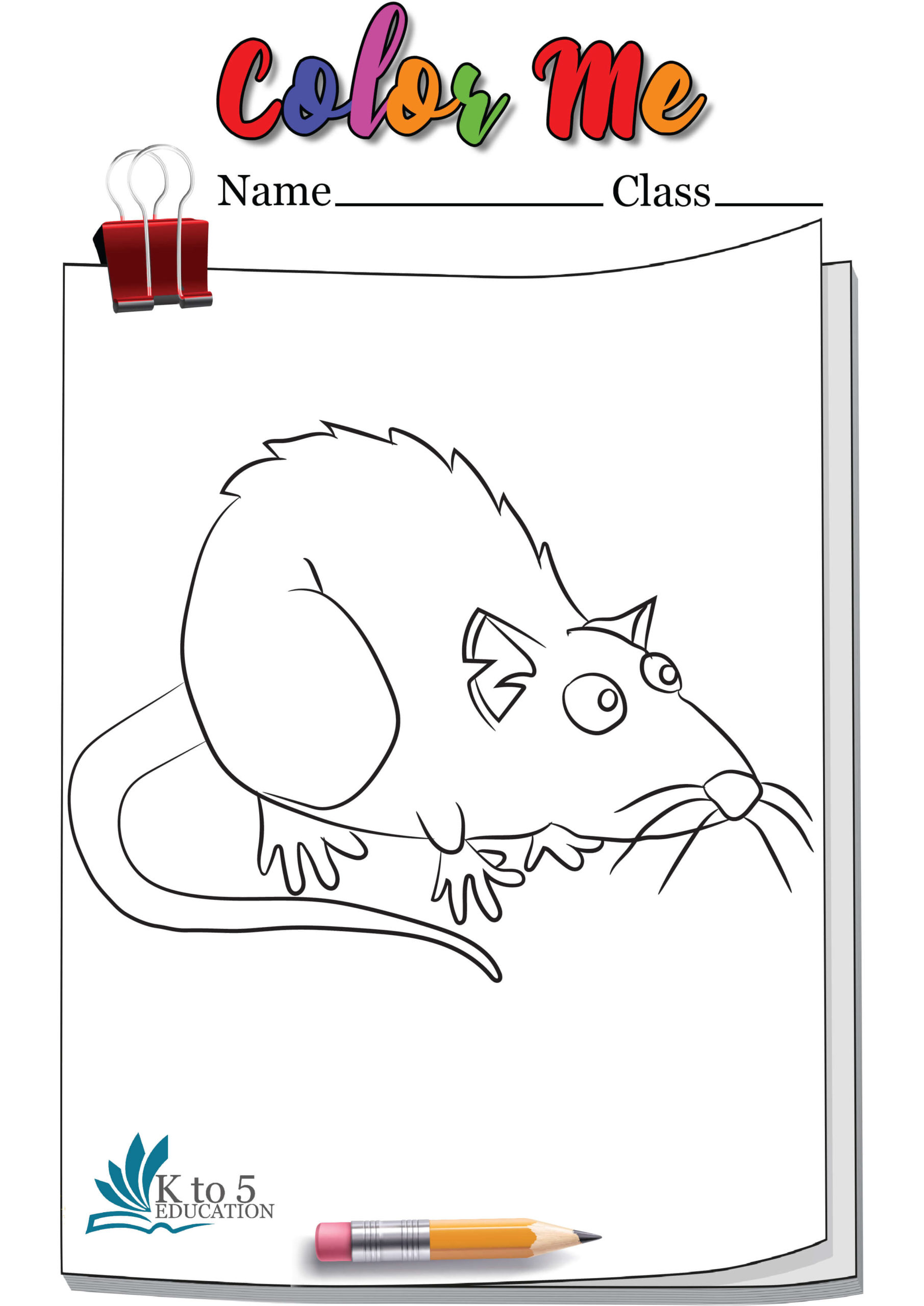 Rat ready to jump coloring page worksheet
