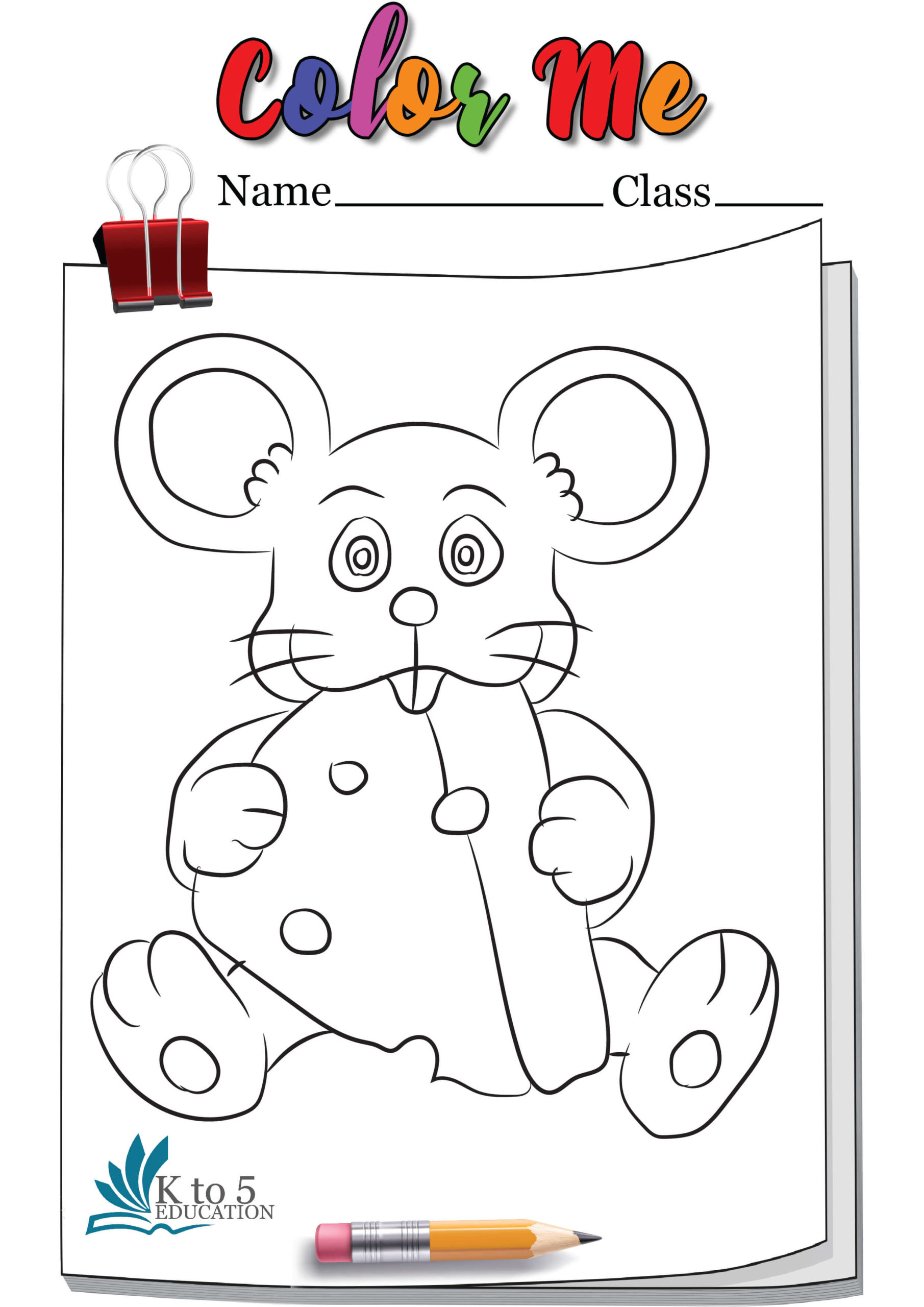 Rat Eating Cheese coloring page worksheet