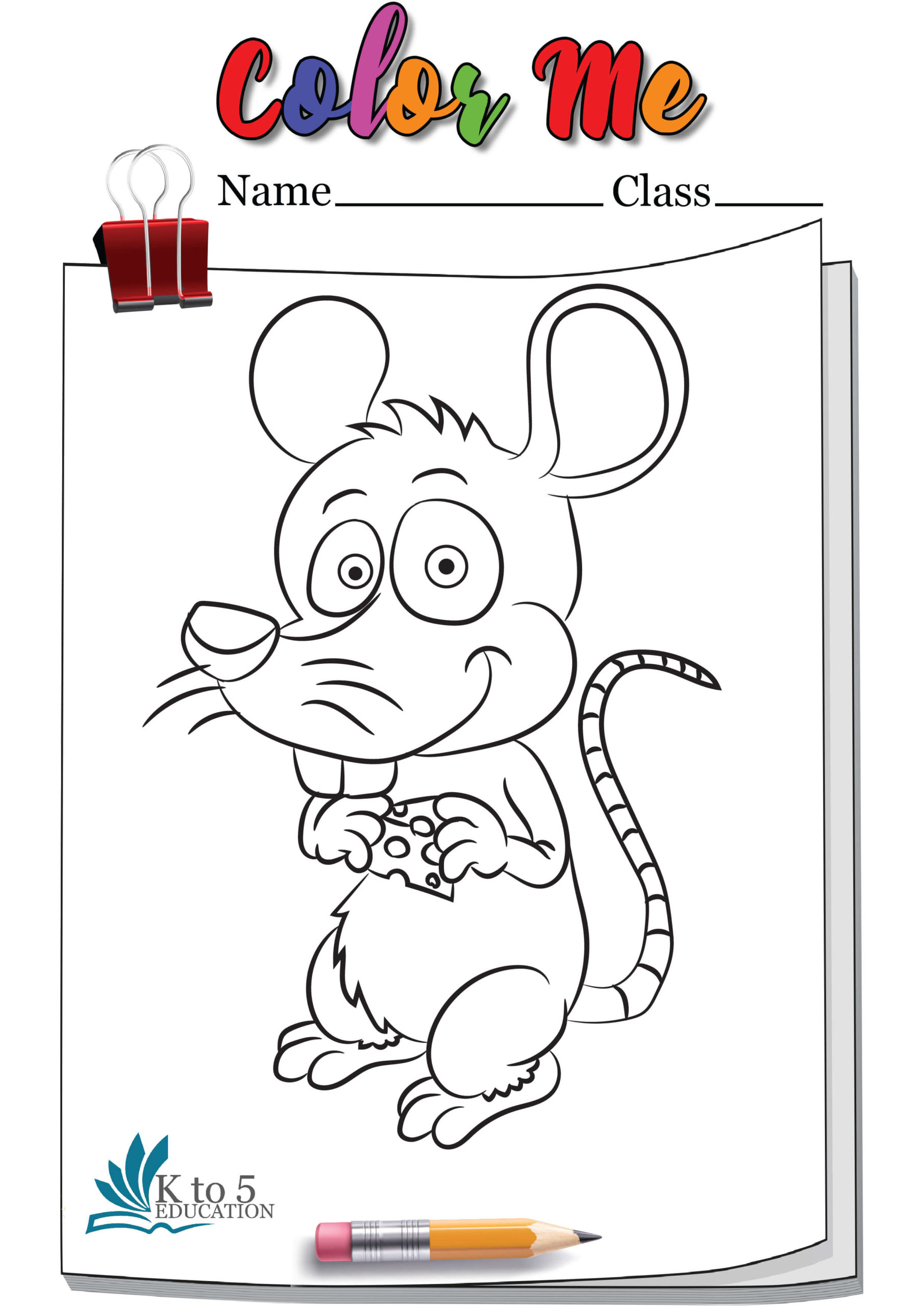 Happy Smiling Rat coloring Page worksheet