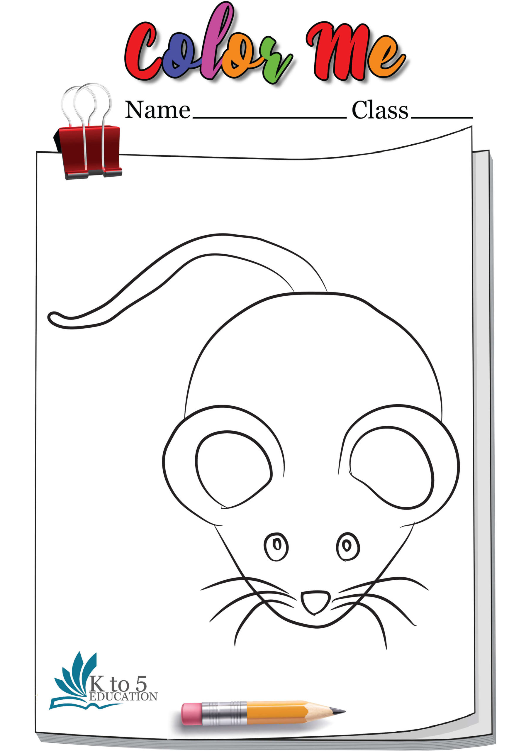 Rat Ready to Run Coloring Page Worksheet