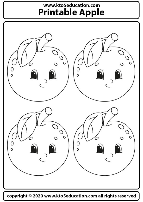 Free Printable Apple Coloring Pages Template For Kids