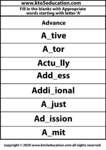 Fill in the Blanks With Appropriate Words Starting with Letter A Worksheets