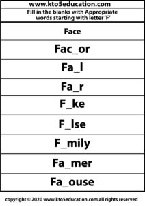 Fill in the Blanks With Appropriate Words Starting with Latter F Worksheets