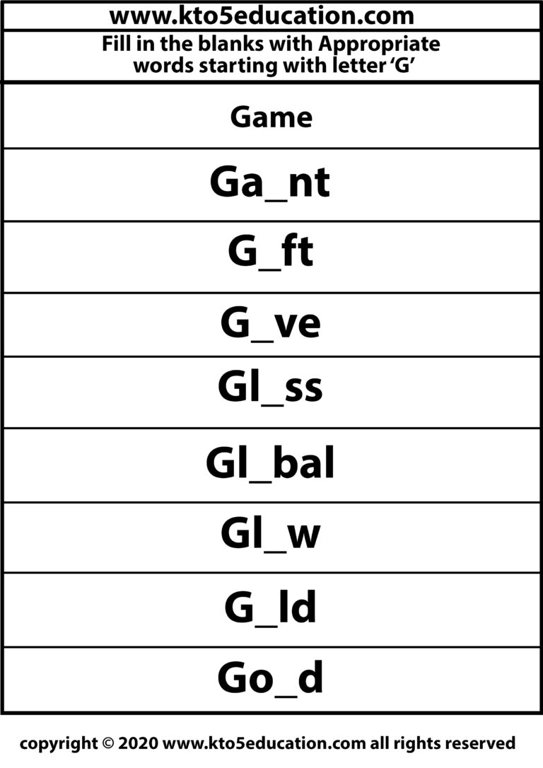 Fill in the Blanks With Appropriate Words Starting with Latter G Worksheets